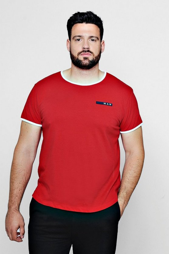 Red Big And Tall MAN Sport T-Shirt