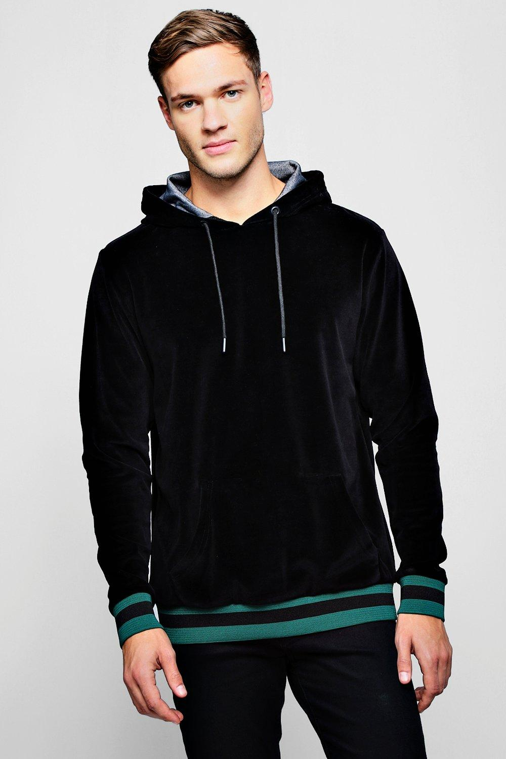 Velour Over The Head Hoodie With Sports Rib