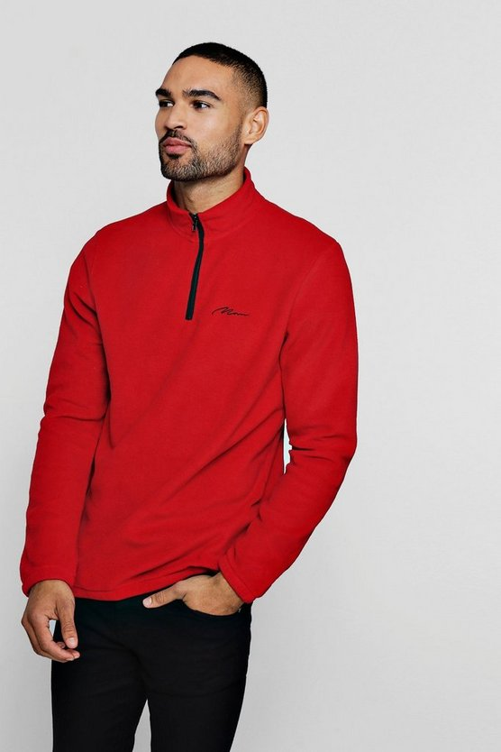 Mens Red MAN Signature Zip Neck Fleece Top