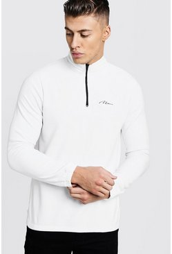 Mens White MAN Signature Zip Neck Fleece Top