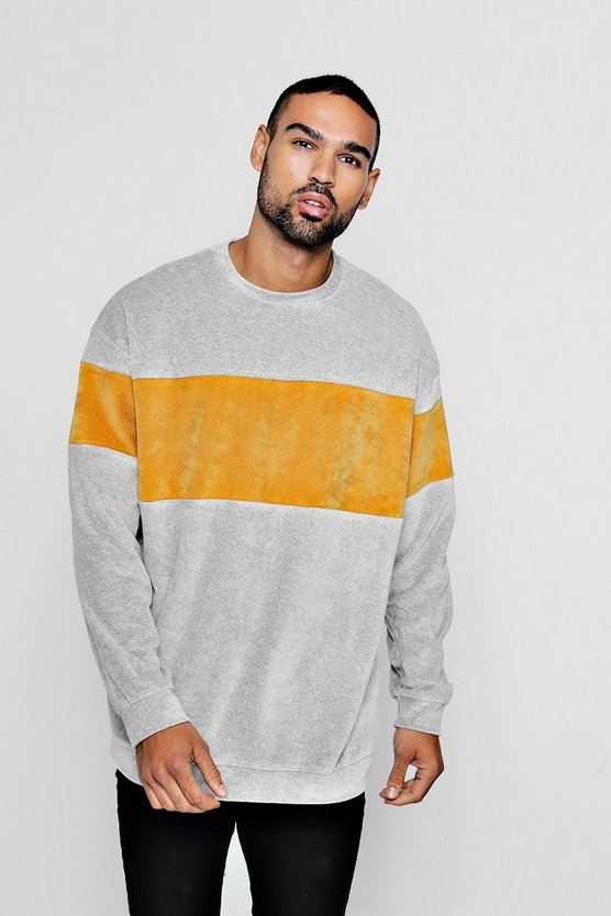 Oversized Sweater With Towelling Colour Block