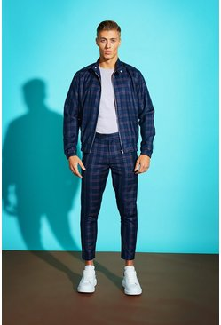 Blue Bold Check Harrington Jacket, Uomo