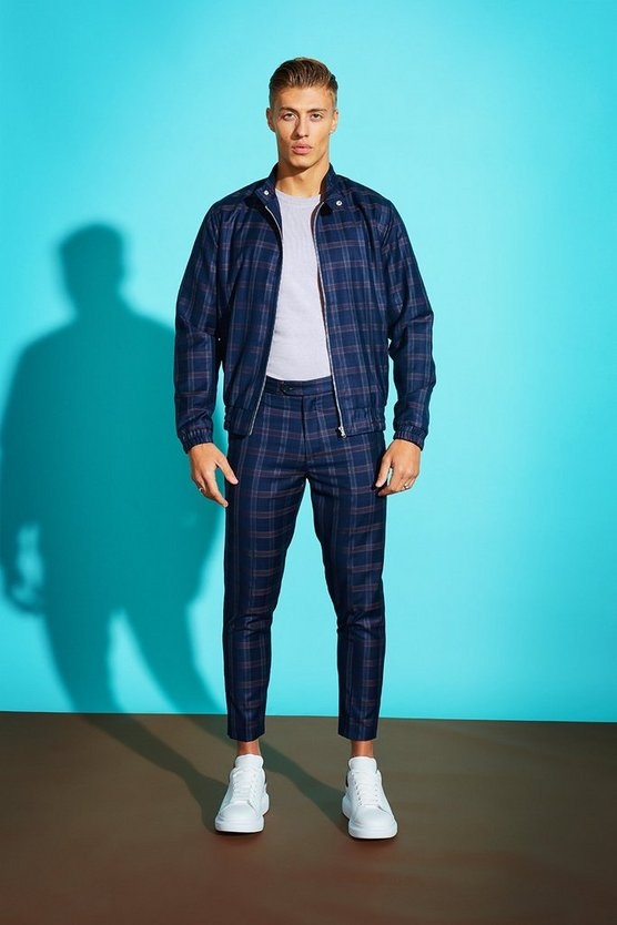 Blue Bold Check Harrington Jacket