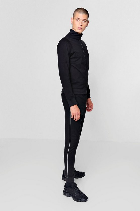 Funnel Neck Tracksuit With Contrast Piping