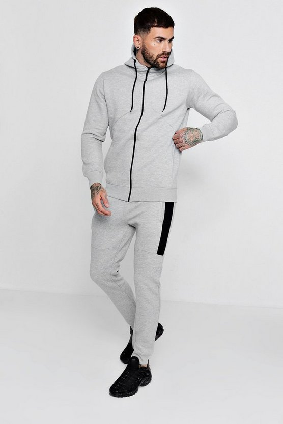 Zip Through Hooded Tracksuit With Contrast Panels