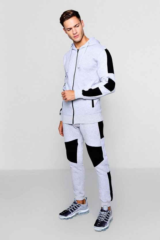 Zip Through Hooded Tracksuit With Biker Panels