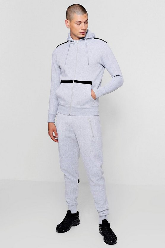 Geo Tape Detail Zip Through Tracksuit