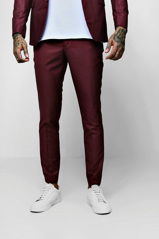Mens Plum Plain Skinny Fit Cropped Trouser