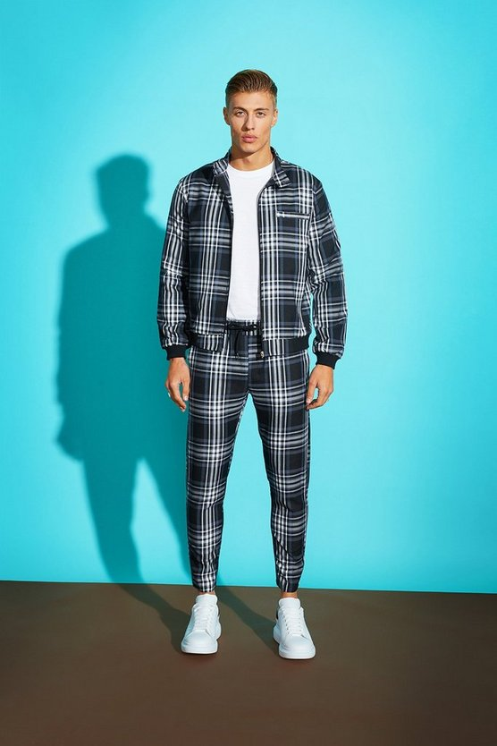 Large Grid Check Smart Bomber Jacket