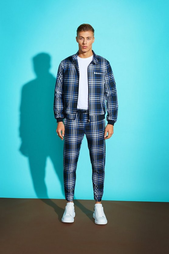Large Grid Check Smart Jogger