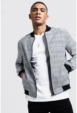 Mens Blue Prince Of Wales Check Smart Bomber Jacket