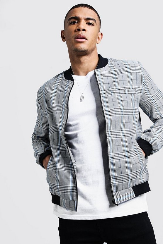Prince Of Wales Check Smart Bomber Jacket