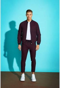 Mens Plum Speckle Wool Blend Smart Bomber