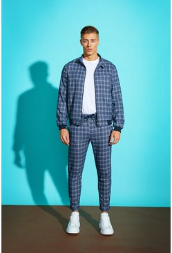 Mens Navy Jaspe Check Harrington Jacket