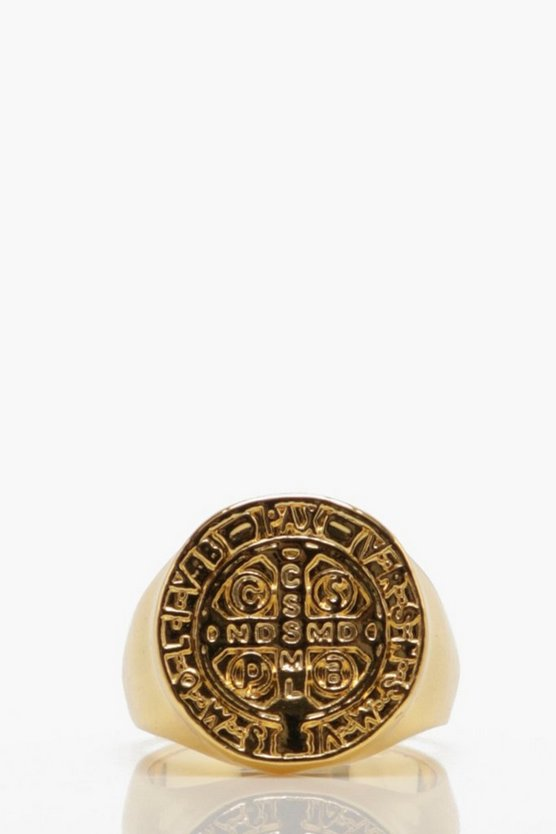 Engraved Detail Flat Signet Ring