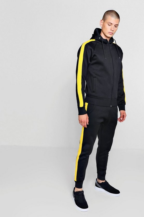 Zip Through Fleece Tracksuit With Contrast Tape