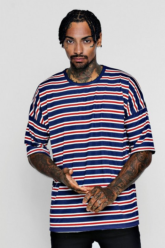 Drop Shoulder Crew Neck Stripe T-Shirt