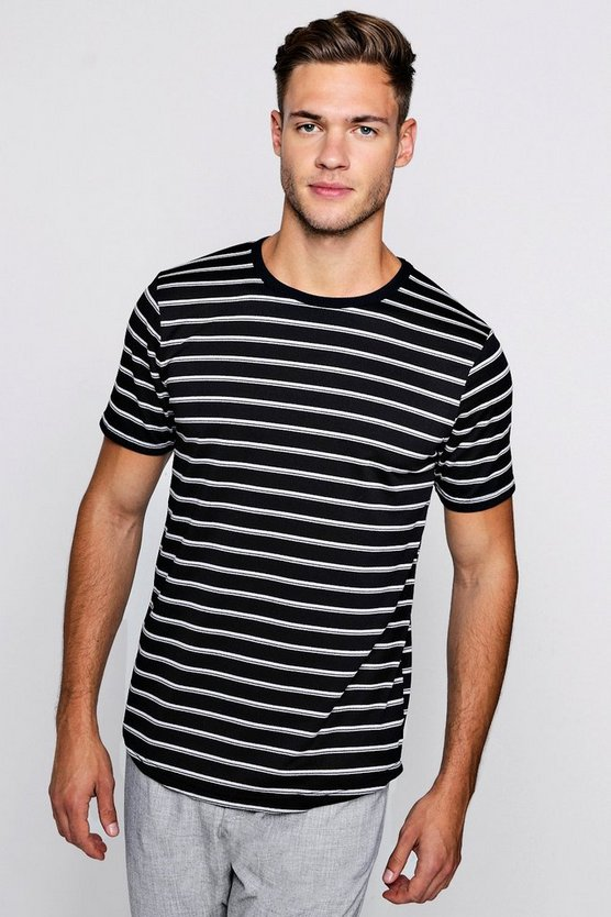 Stripe Regular T-Shirt With Curved Hem