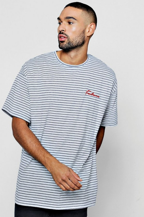 Oversized Yarn Dye Stripe Tee With Slogan Embroidery