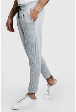 Mens Grey Pinstripe Smart Jogger Trousers