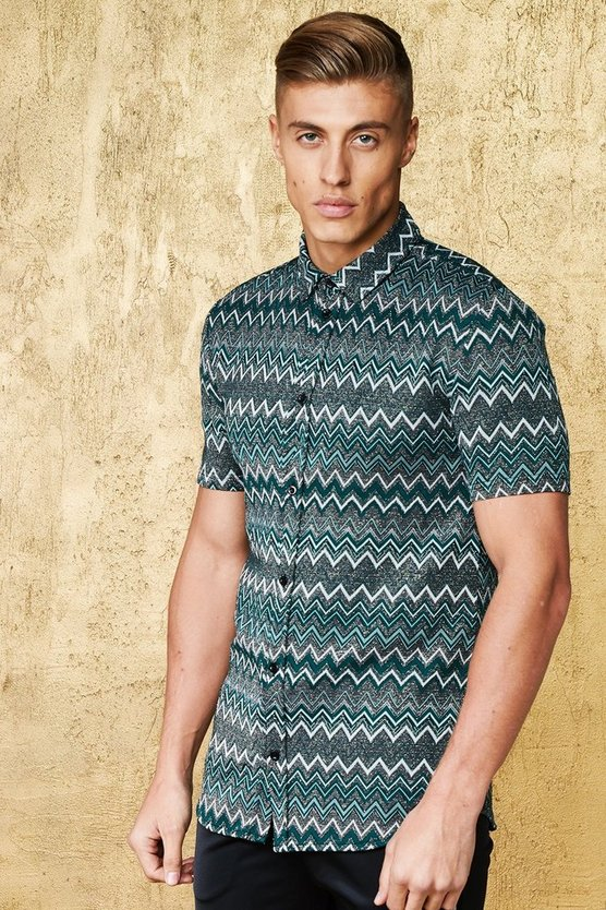 Chevron Metallic Short Sleeve Shirt In Muscle Fit