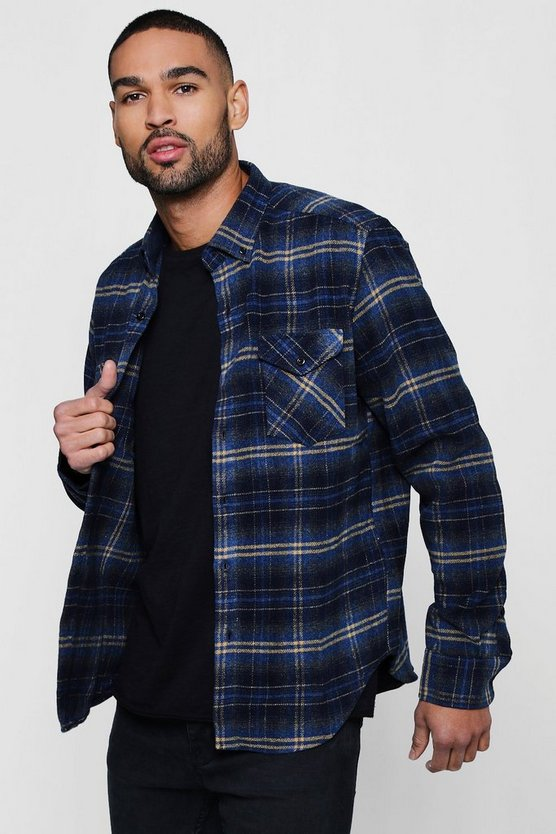 Double Pocket Check Long Sleeve Shacket