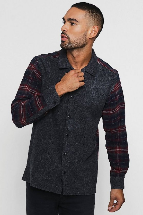Contrast Check Long Sleeve Revere Shirt
