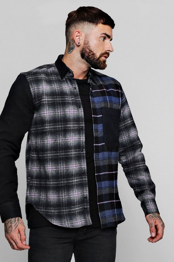Patchwork Check Oversized Long Sleeve Shirt by Boohoo Man