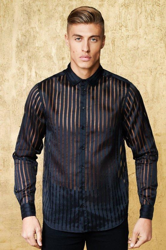 Long Sleeve Stripe Sheer Panel Shirt by Boohoo Man