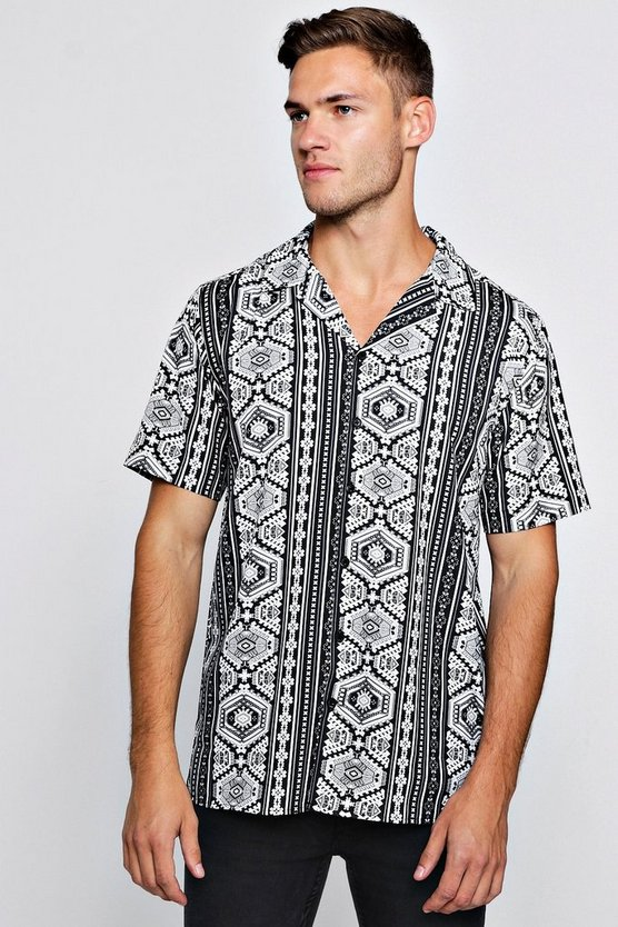 Mens Black Geo Stripe Short Sleeve Revere Shirt