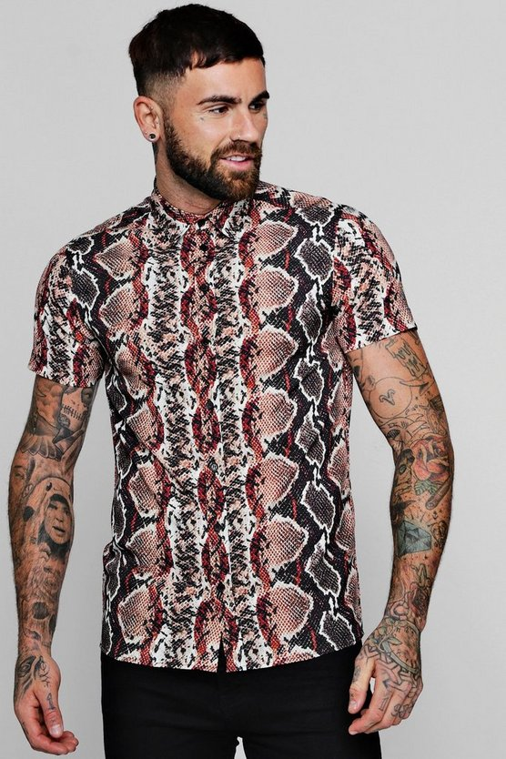 Snake Print Short Sleeve Shirt