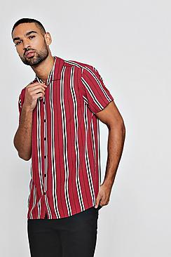 1960s – 70s Mens Shirts- Disco Shirts, Hippie Shirts Short Sleeve Wide Stripe Shirt $40.00 AT vintagedancer.com