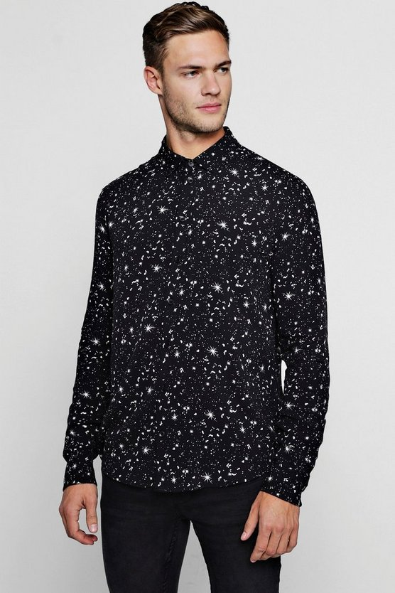 Constellation Print Long Sleeve Shirt