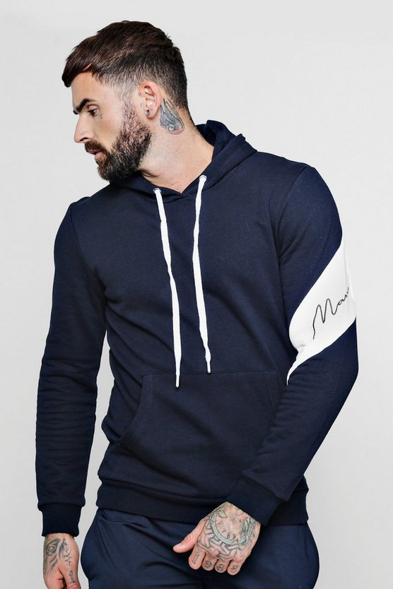 Mens Navy Sleeve Placement MAN Signature Hoodie
