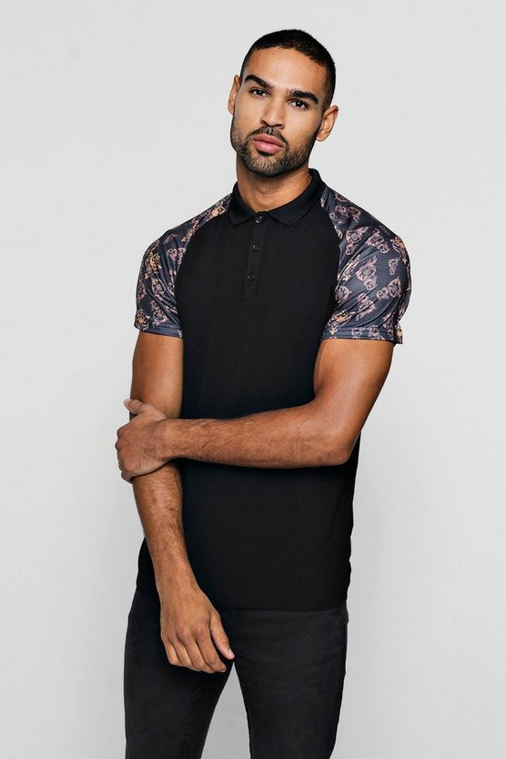 Muscle Fit Baroque Print Raglan Polo