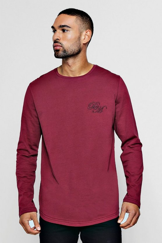 Long Sleeve BM Logo T-Shirt With Curve Hem