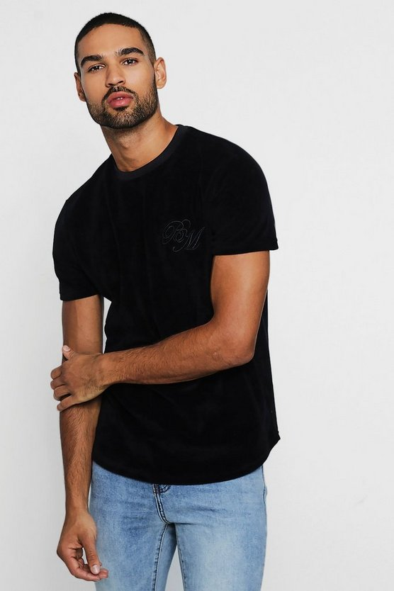 Velour Curve Hem T-Shirt With BM Logo
