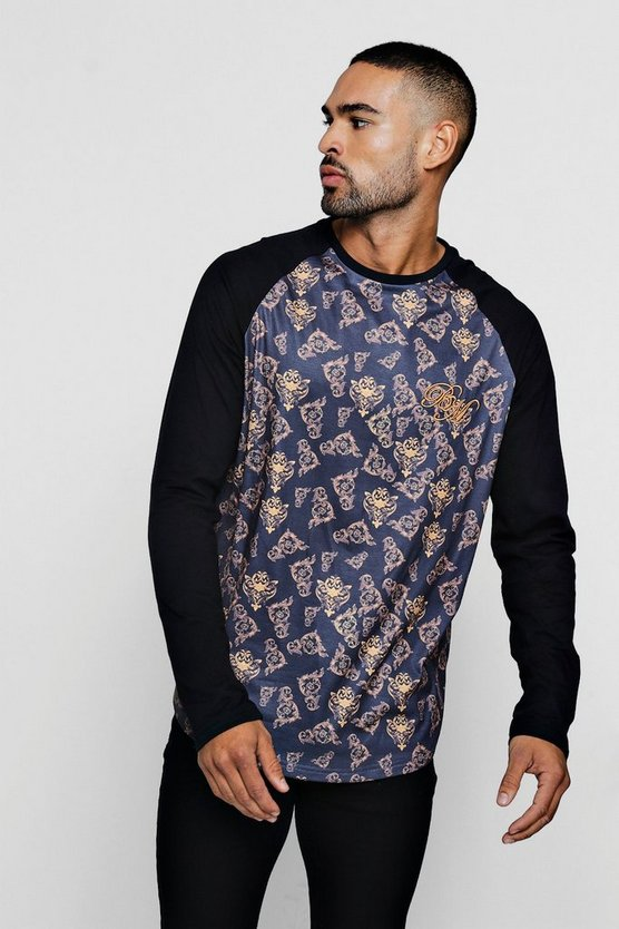 Long Sleeve BM Baroque Print T-Shirt With Curve Hem