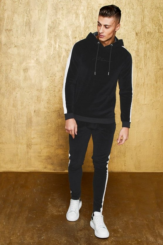 MAN Signature Velour Hooded Tracksuit With Panel
