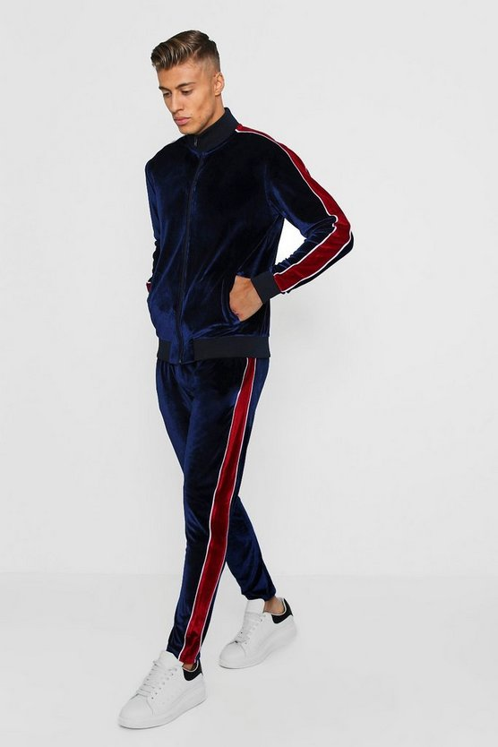 Skinny Fit Velour Funnel Neck Tracksuit by Boohoo Man