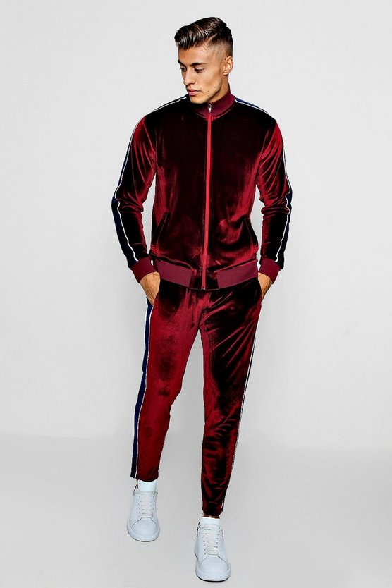 Skinny Fit Velour Funnel Neck Tracksuit