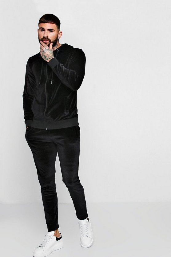 Man Signature Hooded Velour Panel Tracksuit