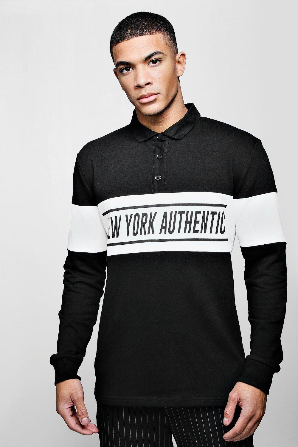 Colour Block Print Chest Panel Rugby Sweater