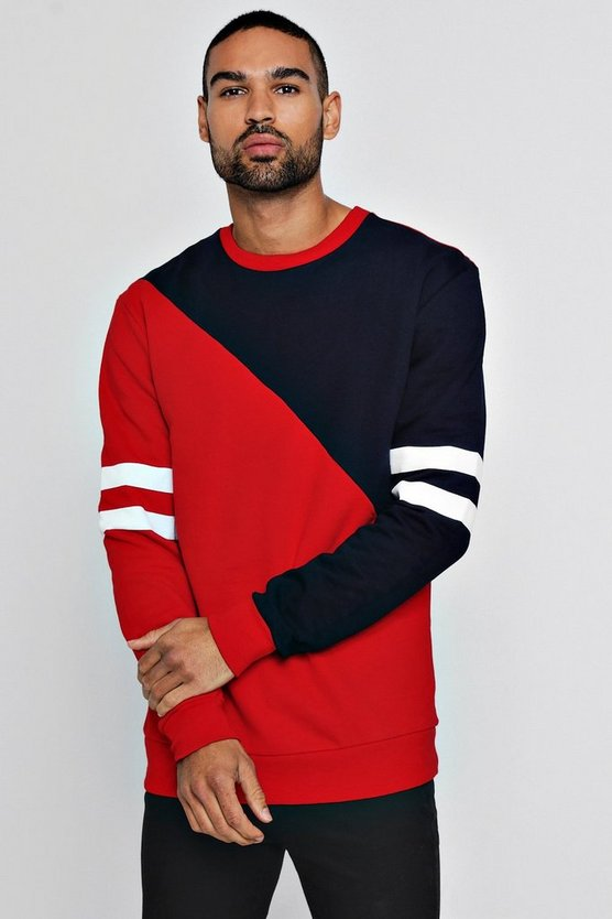 Spliced Colour Block Sleeve Detail Sweater