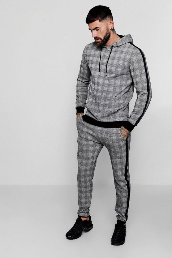 Hooded Smart Check Skinny Tracksuit