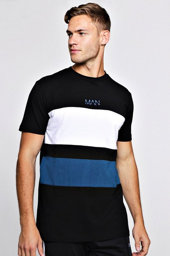 MAN Colour Block T-Shirt With Curve Hem