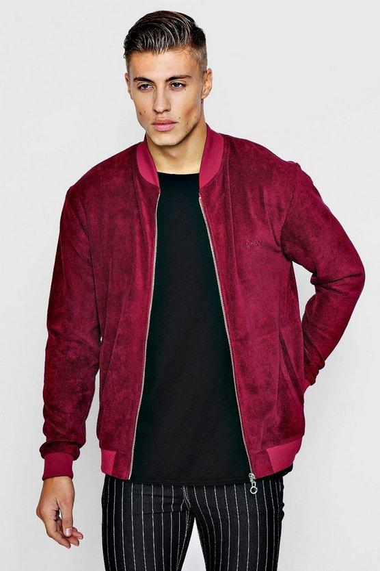 Cord Bomber Jacket With MAN Signature