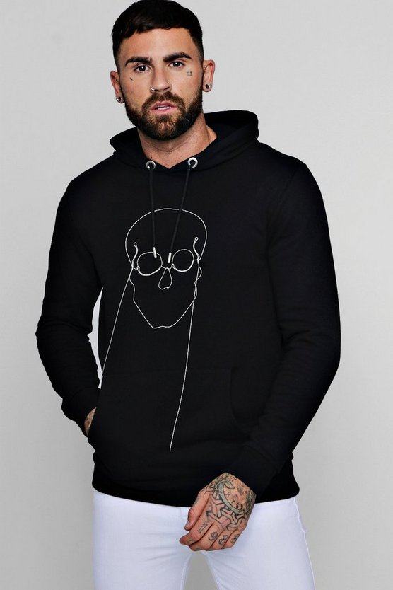 Skull Chain Embellished Fleece Hoodie
