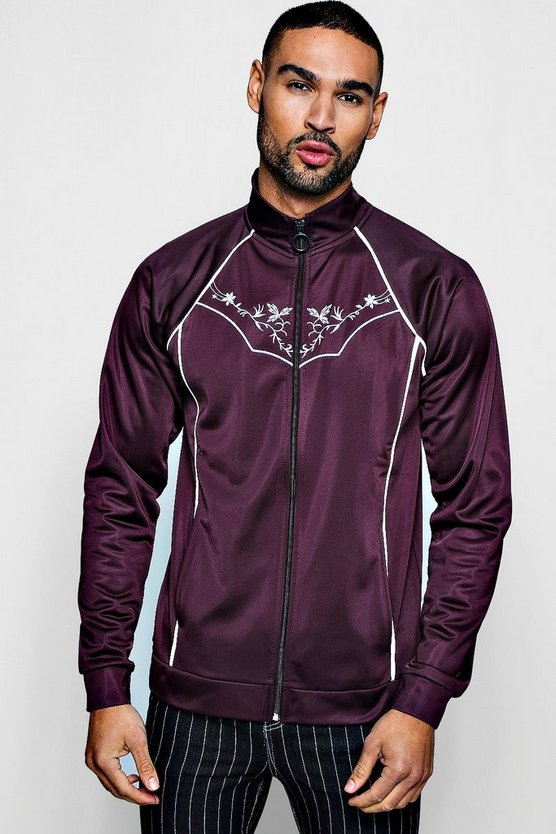 Mens Wine Tricot Piped Embroidered Track Top