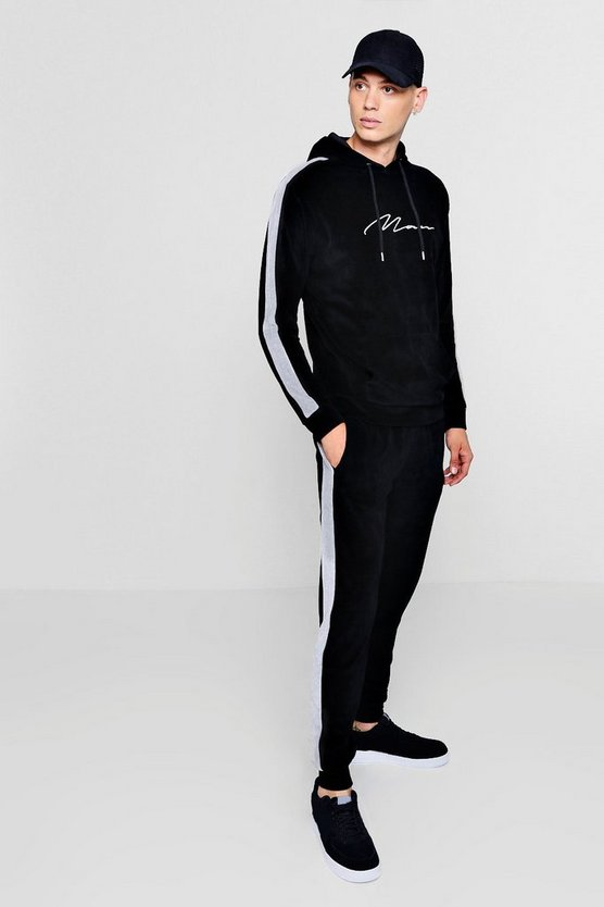 MAN Signature Velour Tracksuit With Side Panel